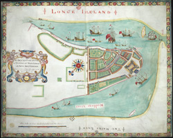 The Dukes Map. A Description of the Towne of Mannados or New Amsterdam 1664